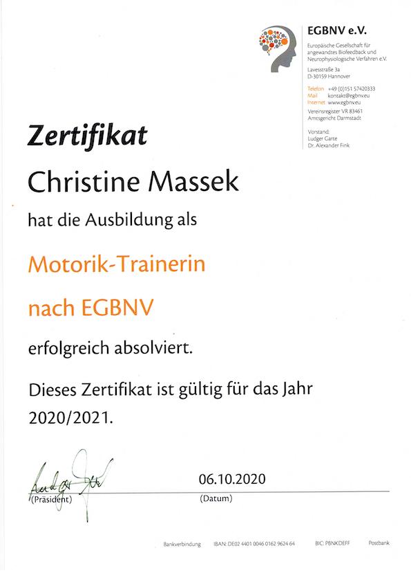 Christine Massek - Motorik Trainerin nach EGBNV